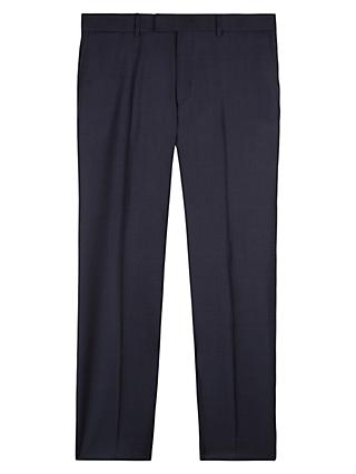 Jaeger Wool Grid Check Regular Fit Trousers, Midnight