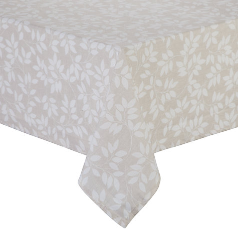 John Lewis Trailing Leaves Wipe Clean Tablecloth Neutral Online At Johnlewis