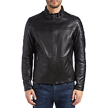 Buy BOSS Green Jeron Leather Jacket, Black Online at johnlewis.com