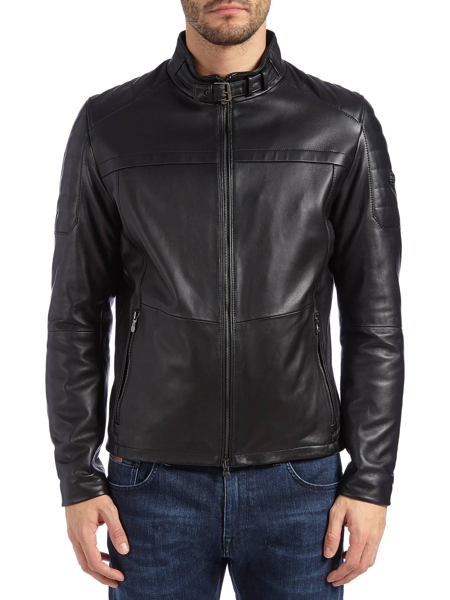 5d8c9ba9d Buy BOSS Green Jeron Leather Jacket, Black, 36R Online at johnlewis.com ...