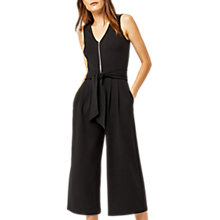 Buy Warehouse Zip Front Crepe Jumpsuit, Black Online at johnlewis.com