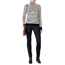 Buy Pure Collection Cashmere Striped Roll Neck Jumper, Black/Soft White Online at johnlewis.com