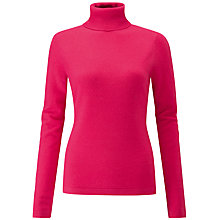 Buy Pure Collection Cashmere Roll Neck Jumper, Hot Pink Online at johnlewis.com