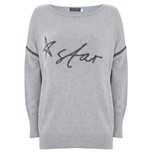 Buy Mint Velvet Handwritten Star Knit Jumper, Light Grey Online at johnlewis.com