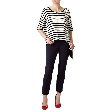 Buy Pure Collection Gassato Cashmere Curved Hem Jumper, Mono Stripe Online at johnlewis.com