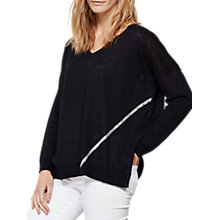 Buy Mint Velvet Foil Seam Box Knit Jumper, Dark Blue Online at johnlewis.com