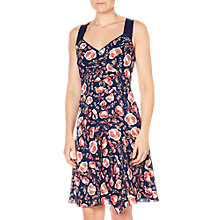 Buy Adrianna Papell Pleated Fit Flare Dress, Coral/Multi Online at johnlewis.com