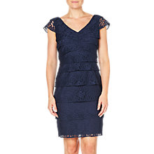 Buy Adrianna Papell Shutter Tuck Lace Sheath Dress, Navy Online at johnlewis.com