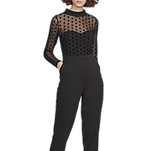 Buy French Connection Lea Mesh High Neck Jumpsuit, Black Online at johnlewis.com