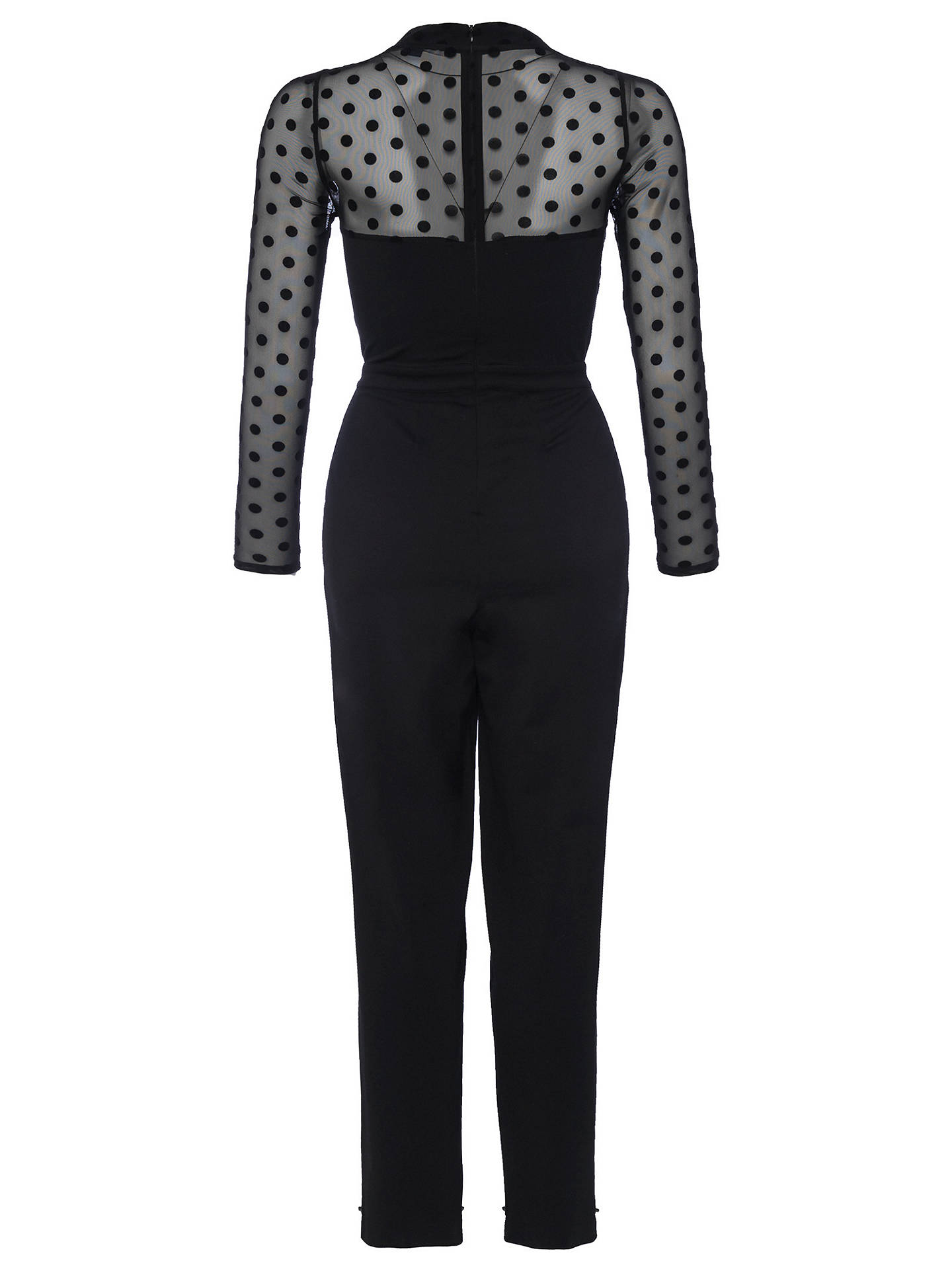 074a7ac3e20 Buy French Connection Lea Mesh High Neck Jumpsuit, Black, 6 Online at  johnlewis.