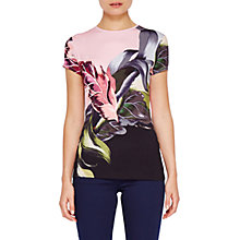 Buy Ted Baker Judia Eden Placement T-Shirt, Black/Multi Online at johnlewis.com