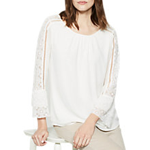 Buy Mint Velvet Lace Sleeve Blouse, Cream Online at johnlewis.com