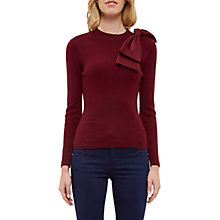 Buy Ted Baker Nehru Bow Detail Jumper, Maroon Online at johnlewis.com