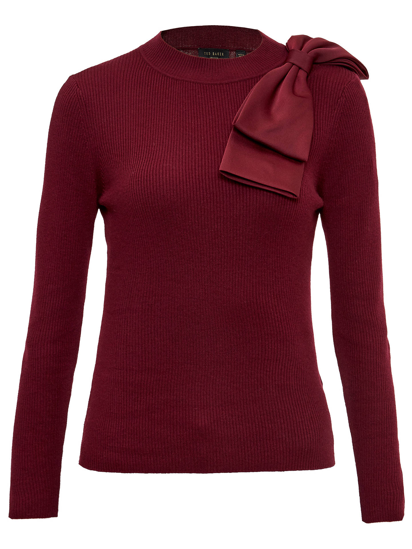 Buy Ted Baker Nehru Bow Detail Jumper, Maroon, 0 Online at johnlewis.com