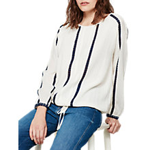 Buy Mint Velvet Stripe Blouson Top, Ivory Online at johnlewis.com