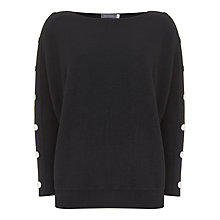 Buy Mint Velvet Popper Sleeve Batwing Jumper, Black Online at johnlewis.com