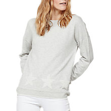 Buy Mint Velvet Star Border Sweatshirt, Light Grey Online at johnlewis.com
