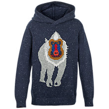 Buy Fat Face Boys' Baboon Hooded Jumper, Navy Online at johnlewis.com