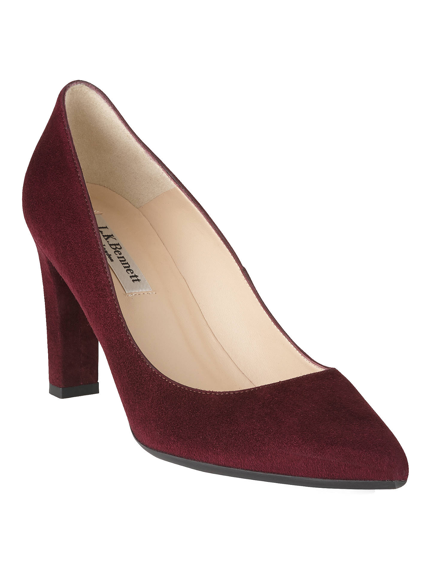 5484d22109 Buy L.K. Bennett Tess Block Heeled Court Shoes, Oxblood Suede, 2 Online at  johnlewis ...