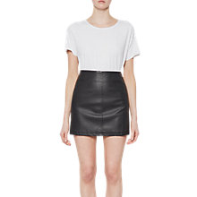 Buy French Connection Filomena Faux Leather Mini Skirt, Black Online at johnlewis.com