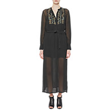 Buy French Connection Donna Sheer Tie Waist Maxi Dress, Ink Green Online at johnlewis.com