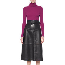 Buy French Connection Annie Leather Midi Skirt, Black Online at johnlewis.com