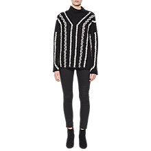 Buy French Connection Ella Embroidered High Neck Jumper, Black/White Online at johnlewis.com