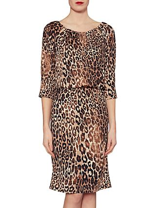 Gina Bacconi Ines Leopard Print Dress, Brown/Black