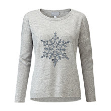 Buy Pure Collection Sparkle Snowflake Dipped Hem Jumper, Grey Online at johnlewis.com