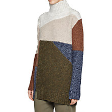 Buy French Connection Anna Patchwork Jumper, Dusty Olive/Multi Online at johnlewis.com