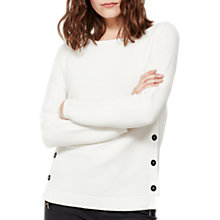 Buy Mint Velvet Button Ottoman Rib Jumper, Ivory Online at johnlewis.com
