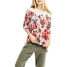 Buy Oasis Longline Printed Jumper, Mid Grey Online at johnlewis.com