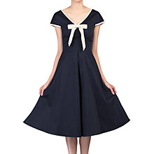 Buy Jolie Moi Bow Detail 50s Flare Dress, Navy Online at johnlewis.com
