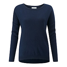 Buy Pure Collection Dip Hem Jumper, Navy Online at johnlewis.com