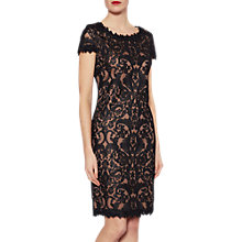Buy Gina Bacconi Tabitha Embroidery Dress, Black/Coffee Online at johnlewis.com