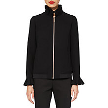 Buy Ted Baker Lydiah Ruffle Detail Bomber Jacket, Black Online at johnlewis.com