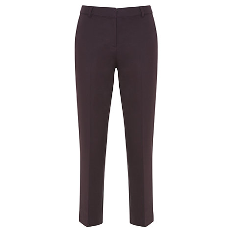 Buy Mint Velvet Cotton Cropped Trousers, Dark Red Online at johnlewis.com