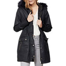 Buy Mint Velvet Waxed Faux Fur Parka, Dark Blue Online at johnlewis.com