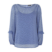 Buy Mint Velvet Iris Flocked Spotty Top, Light Blue Online at johnlewis.com
