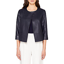 Buy Ted Baker Rennay Leather Collarless Jacket, Navy Online at johnlewis.com