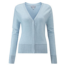 Buy Pure Collection Ribbed Trim V-Neck Cardigan Online at johnlewis.com