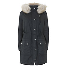 Buy Mint Velvet Waxed Faux Fur Parka, Black Online at johnlewis.com