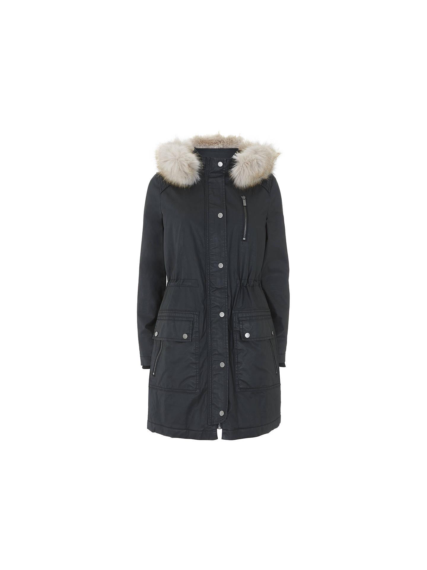 wholesale outlet cheaper promo codes Mint Velvet Waxed Faux Fur Parka, Black at John Lewis & Partners