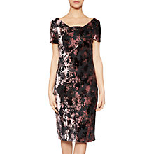 Buy Gina Bacconi Sabrina Floral Velvet Dress, Black/Plum Frost Online at johnlewis.com