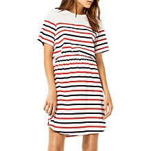 Buy Warehouse Engineered Stripe Dress, White/Multi Online at johnlewis.com
