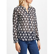 Buy Hartford Carta Clyde Silk Blend Print Shirt, Midnight Deep Navy/White Cranes Online at johnlewis.com