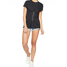 Buy Miss Selfridge Hook & Eye Corset T-Shirt, Black Online at johnlewis.com