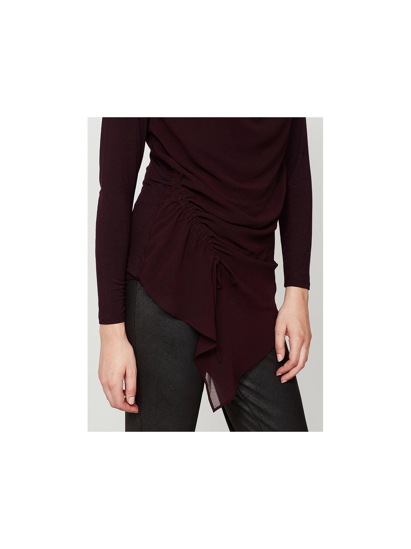 BuyMint Velvet Bordeaux Ruched Front Layer Top, Dark Red, 6 Online at johnlewis.com