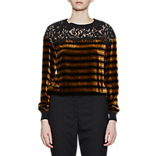 Buy French Connection Emma Stripe Lace Trim Top, Black/Willow Online at johnlewis.com