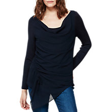 Buy Mint Velvet Ruched Front Layered Top, Dark Blue Online at johnlewis.com